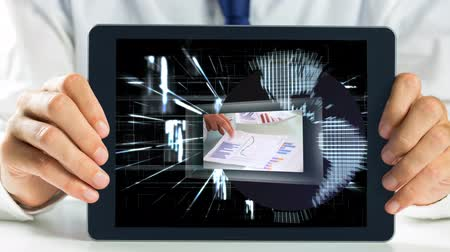enterprise : Digital animation of businessman holding digital tablet. Technology business graph on the screen 4k
