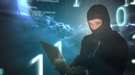 numerical code : Digital animation of hacker using laptop. Glowing cloud computing graphic in background 4k