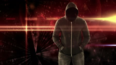 numerical code : Digital animation of hooded hacker standing. Digital binary technology code in background 4k Stock Footage