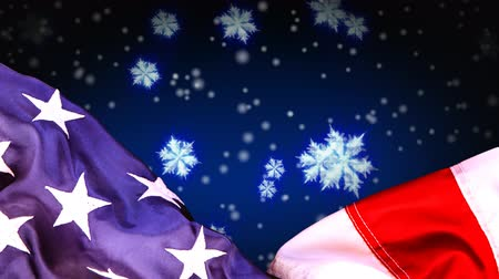 идентичность : Digital animation of American flag and snowflakes, Snow falling in background 4k Стоковые видеозаписи
