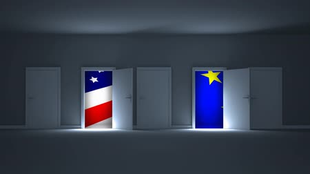 stars and stripes : Digital animation showing American and European flag through the open doors. American and European flag swaying in the air behind the doors 4k Stock Footage