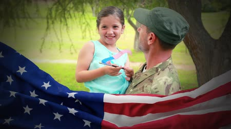 homecoming : Conceptual digital animation showing a child interacting with American soldier on home returning. American flag on foreground 4k