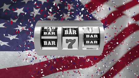 piyango : Digital animation showing metallic bar sign and number 7. Confetti and American flag behind the sign 4k Stok Video
