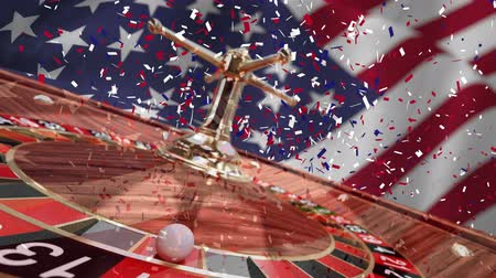 ruleta : Digital animation of confetti falling on the roulette. American flag swaying in the wind 4k