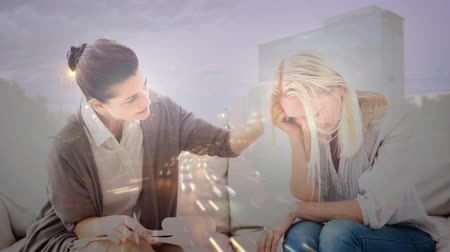 counselling : Digital animation of counselor consoling depressed woman. City life in background 4k Stock Footage