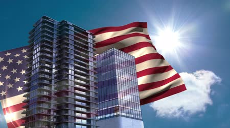 scraper : Digital animation of American flag swaying in the wind against the bright sunlight. Skyscrapers below the blue sky on a sunny day 4K