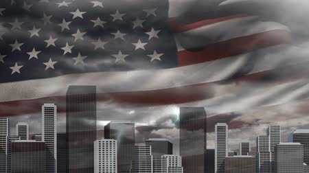 スクレーパー : Digital animation of American flag swaying behind the city skyline. dark clouds and lightning striking in the sky 4K 動画素材
