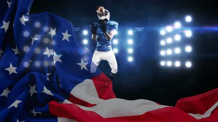 rúgbi : Digital animation of American Rugby player catching the ball in the stadium. American flag in the foreground 4K