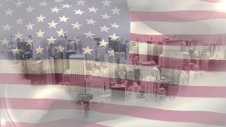 identidad : Digital animation of American flag swaying in the wind against the city. Skyscrapers in the city 4K