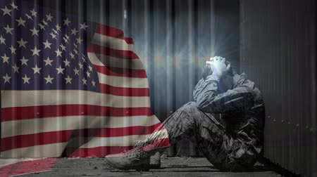 カモフラージュ : Digital animation of upset army soldier sitting opposite to American flag. Flag swaying in wind 4k
