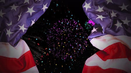 kraker : Digital animation of fireworks on the sky at night. American flag as curtains 4K