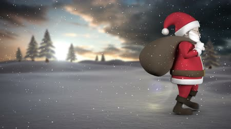 záradék : Digitally generated animation of Santa walking by through the snow against nature background
