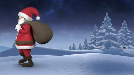 záradék : Digitally generated animation of Santa Claus walking by through the snow against nature background Stock mozgókép