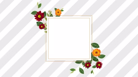 редактируемые : Digitally generated border design with pretty red and orange gerbera daisies coming up to the screen and receding