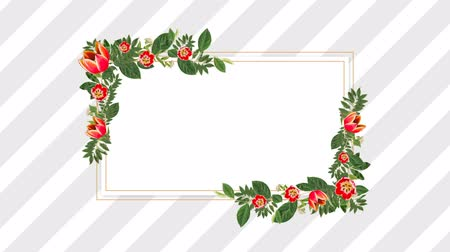 dikdörtgenler : Rectangle photo frame for copy space with decorative red flowers against stripes background