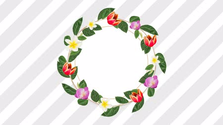 редактируемые : Circle photo frame for copy space with decorative pink red and white flowers against stripes background