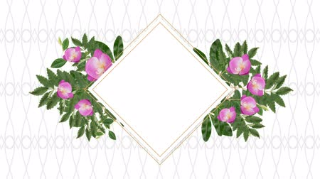 lozenge : Square photo frame for copy space with decorative pink flowers against pattern background