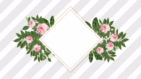 редактируемые : Square photo frame for copy space with decorative pink flowers against striped background