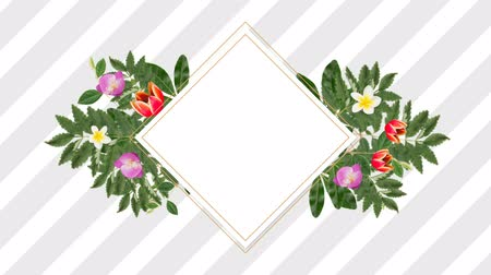 lozenge : square photo frame for copy space with decorative purple, red and white flowers against stripes background