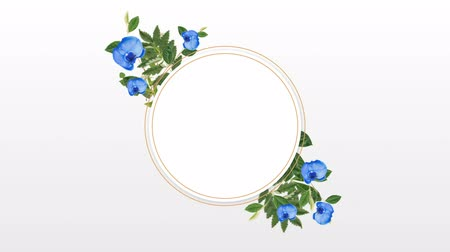 редактируемые : Circle photo frame for copy space with decorative blue flowers against stripes background Стоковые видеозаписи