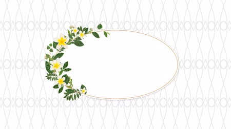 oválný : Oval photo frame for copy space with decorative yellow flowers against pattern background