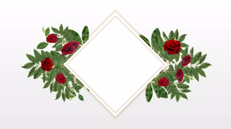lozenge : square photo frame for copy space with decorative rose flowers against white background Stock Footage