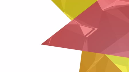odráží : Digital animation of three red, orange and yellow bright triangles against white background for copy space