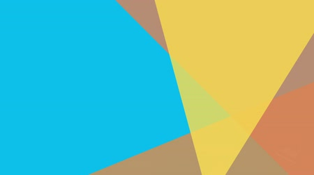 odráží : Digital animation of three yellow and orange triangles against blue background for copy space