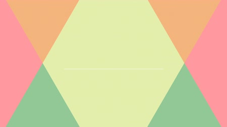 anýz : two orange and green triangles in motion melting each other against pink background