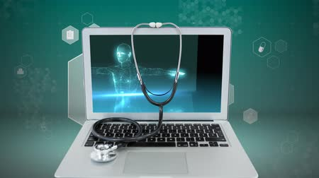 x ray image : Medical digital Laptop displaying blue human bodyscan with stethoscope against blue glowing technology animated background