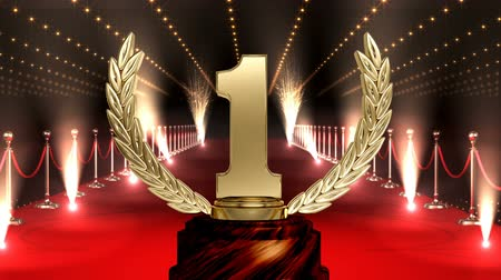 trofej : Winning Golden number one Trophy on red carpet with american flag against glowing technlogy animated background