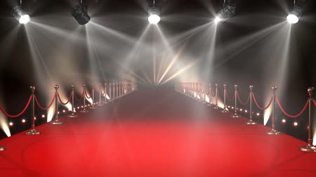 czerwony : Digital animated red carpet with turning animated lights on both sides