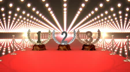 ösztönző : Digital animated red carpet with trophies and flashing lights in the background Stock mozgókép