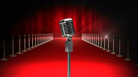 ковер : Digital animated Microphone on animated red carpet background with flashing lights
