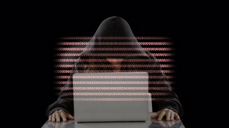 photography themes : Anonymous Hacker with laptop and moving animated codes background
