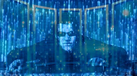 computer programmer : Anonymous hacker with laptop and animated blue matrix codes background