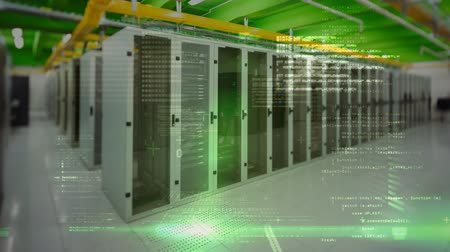 server room : Digital composite of data server room against animated background with binary code Stock Footage