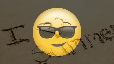 eu : Digital composite of animated yellow emoticon with sunglasses against sand with text in the background Vídeos