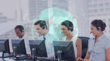 temsilci : Digital composite of multi-ethnic group of people working in Callcenter with headset against animated global background