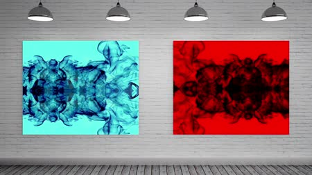 digitální umění : Digitally generated blue and red canvas as mock up displaying color explosions with abstract animated smoke