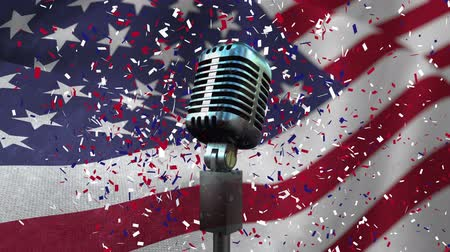 undulating : Animated Microphone against animated american flag background and confetti