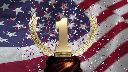 trofej : First Place Trophy against american flag blowing in the wind background and confetti