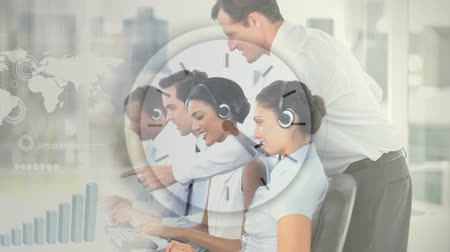 телефон доверия : Happy Customer Service team using Headset against clock background Стоковые видеозаписи