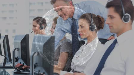 representante : Happy Customer Service team using Headset against animated global background Vídeos