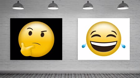bizarre : Animated yellow emoticons on black and white canvas mock up against animated grey brick wall