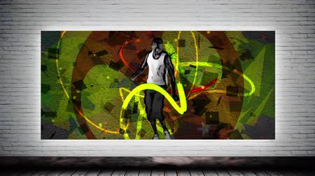 digitální umění : Animated Dancing sportsman with urban graffiti Canvas mock up against grey brick wall