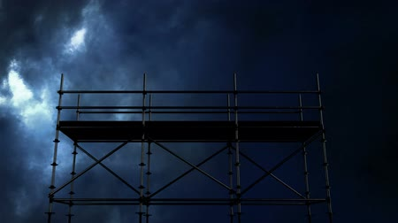 şantiye : Black animated Construction scaffolding against animated black and blue thunder background