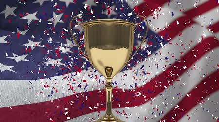 ösztönző : First Place Throphy against american flag background