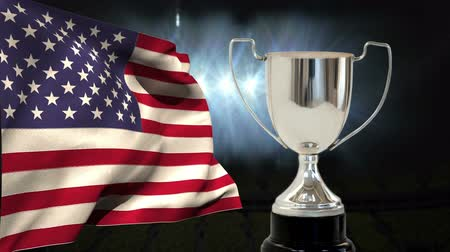 čest : First Place Throphy against american flag background