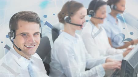 representante : Happy Customer Service colleagues using Headset against running clock background